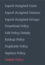 Screenshot of the Actions menu for each policy